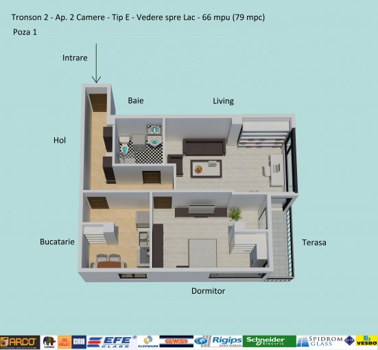 Apartament vanzare Constanta 2 camere, suprafata utila 66 mp, 1 grup sanitar, 1  balcon. 66.000 euro negociabil. Etajul 4 / 6. Destinatie: Rezidenta. Apartament Campus Constanta