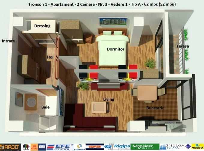Apartament vanzare Campus cu 2 camere, etajul 5 / 6, 1 grup sanitar, cu suprafata de 52 mp. Constanta, zona Campus.