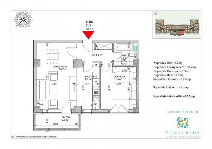 Apartament de vanzare direct de la agentie imobiliara, in Constanta, in zona Tomis Plus, cu 60.000 euro. 1  balcon, 1 grup sanitar, suprafata utila 55 mp.