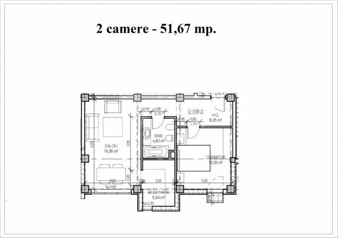 vanzare Apartament Constanta cu 2 camere, cu 1 grup sanitar, suprafata utila 61 mp. Pret: 52.000 euro.