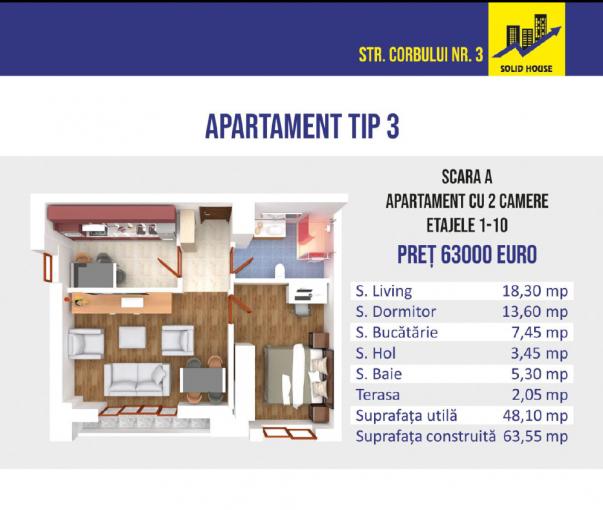 Apartament de vanzare in Constanta cu 2 camere, cu 1 grup sanitar, suprafata utila 50 mp. Pret: 63.000 euro negociabil.