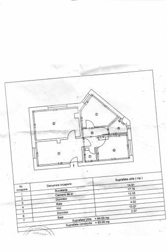 Apartament vanzare Ovidiu 3 camere, suprafata utila 83 mp, 1 grup sanitar. 60.000 euro negociabil. La Parter. Apartament Centru Ovidiu  Constanta