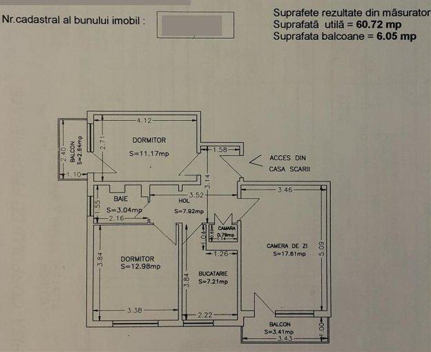 vanzare Apartament Constanta cu 3 camere, cu 1 grup sanitar, suprafata utila 67 mp. Pret: 69.500 euro.