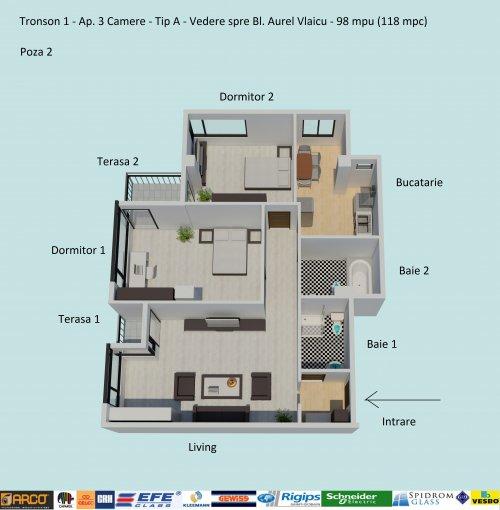 Apartament vanzare Campus cu 3 camere, etajul 5 / 5, 2 grupuri sanitare, cu suprafata de 98 mp. Constanta, zona Campus.