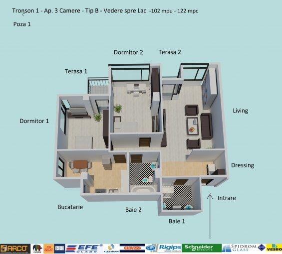 Apartament vanzare Constanta 3 camere, suprafata utila 102 mp, 2 grupuri sanitare, 2  balcoane. 124.900 euro negociabil. Etajul 6 / 6. Destinatie: Rezidenta, Birou, Comercial, Vacanta. Apartament Campus Constanta