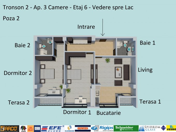 Apartament de vanzare direct de la dezvoltator imobiliar, in Constanta, in zona Campus, cu 129.900 euro negociabil. 2  balcoane, 2 grupuri sanitare, suprafata utila 102 mp.