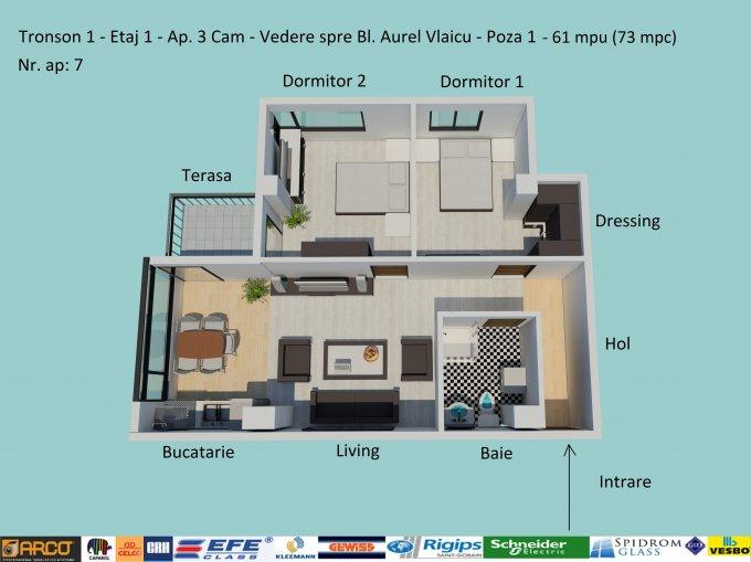 Apartament vanzare Campus cu 3 camere, etajul 1 / 6, 1 grup sanitar, cu suprafata de 61 mp. Constanta, zona Campus.