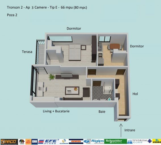 Apartament vanzare Campus cu 3 camere, etajul 3 / 6, 1 grup sanitar, cu suprafata de 66 mp. Constanta, zona Campus.