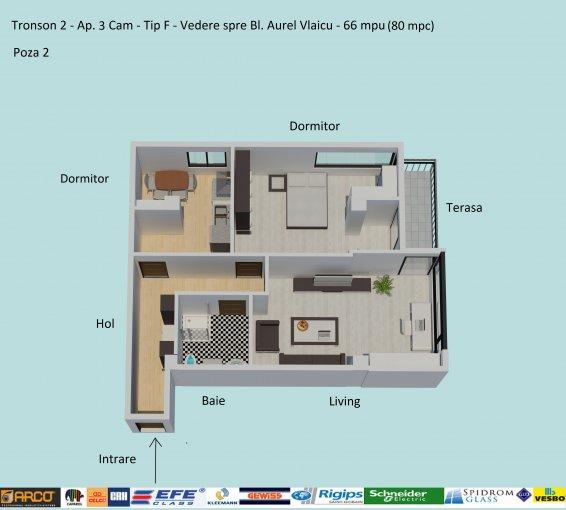 Apartament vanzare Constanta 3 camere, suprafata utila 66 mp, 1 grup sanitar, 1  balcon. 75.900 euro negociabil. Etajul 5 / 6. Destinatie: Rezidenta, Birou, Comercial, Vacanta. Apartament Campus Constanta