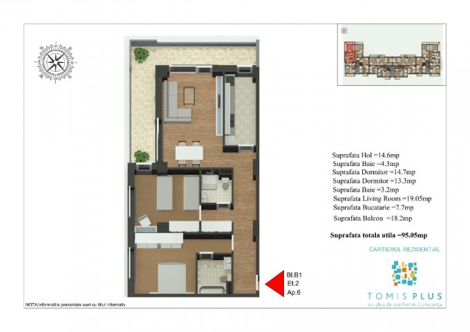 Apartament vanzare Constanta 3 camere, suprafata utila 95.5 mp, 2 grupuri sanitare, 1  balcon. 88.900 euro. Etajul 2 / 9. Destinatie: Rezidenta, Comercial. Apartament Tomis Plus Constanta