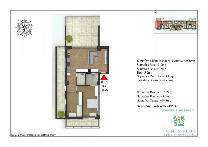 Apartament vanzare Tomis Plus cu 3 camere, etajul 9 / 9, 2 grupuri sanitare, cu suprafata de 122.3 mp. Constanta, zona Tomis Plus.