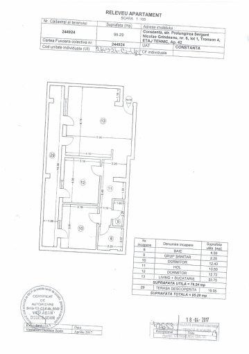 Apartament vanzare Km 4-5 cu 3 camere, etajul 5, 2 grupuri sanitare, cu suprafata de 9624 mp. Constanta, zona Km 4-5.