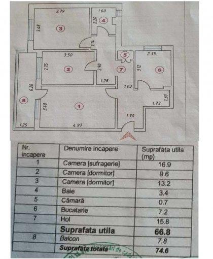 Apartament vanzare Tomis Nord cu 3 camere, etajul 10, 1 grup sanitar, cu suprafata de 72 mp. Constanta, zona Tomis Nord.