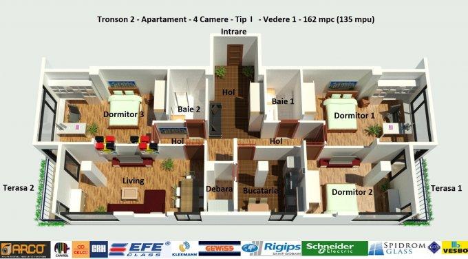 Apartament vanzare Campus cu 4 camere, etajul 5 / 6, 2 grupuri sanitare, cu suprafata de 135 mp. Constanta, zona Campus.