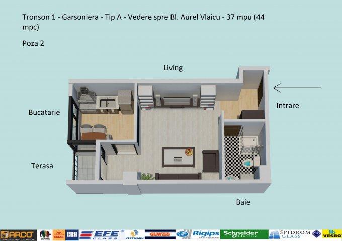 Garsoniera de vanzare in Constanta, cu 1 grup sanitar, suprafata utila 37 mp. Pret: 41.800 euro negociabil. Usa intrare: Metal. Usi interioare: Lemn.