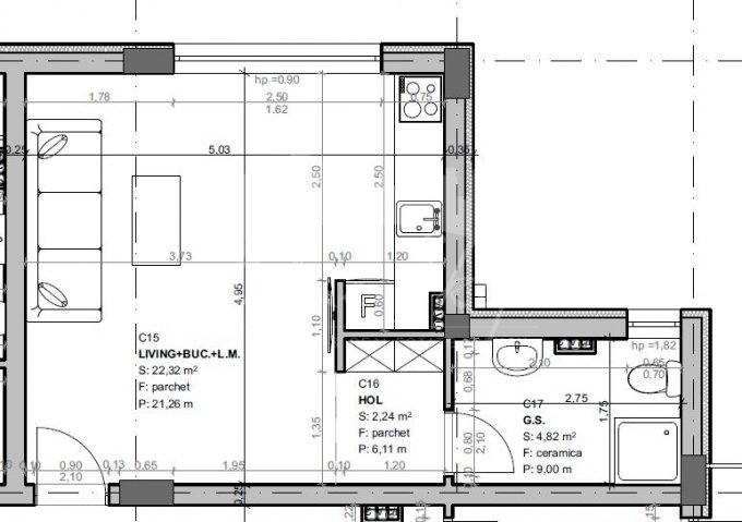 Garsoniera vanzare Mamaia Nord la Parter, 1 grup sanitar, cu suprafata de 36 mp. Constanta, zona Mamaia Nord.