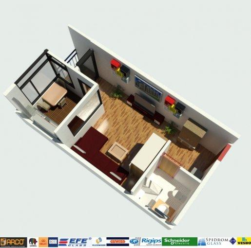 Garsoniera de vanzare direct de la dezvoltator imobiliar, in Constanta, zona Campus, cu 39.900 euro. 1  balcon, 1 grup sanitar, suprafata utila 35 mp.