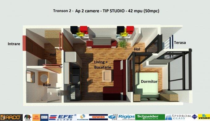 Garsoniera de vanzare direct de la dezvoltator imobiliar, in Constanta, zona Campus, cu 49.900 euro negociabil. 1  balcon, 1 grup sanitar, suprafata utila 42 mp.