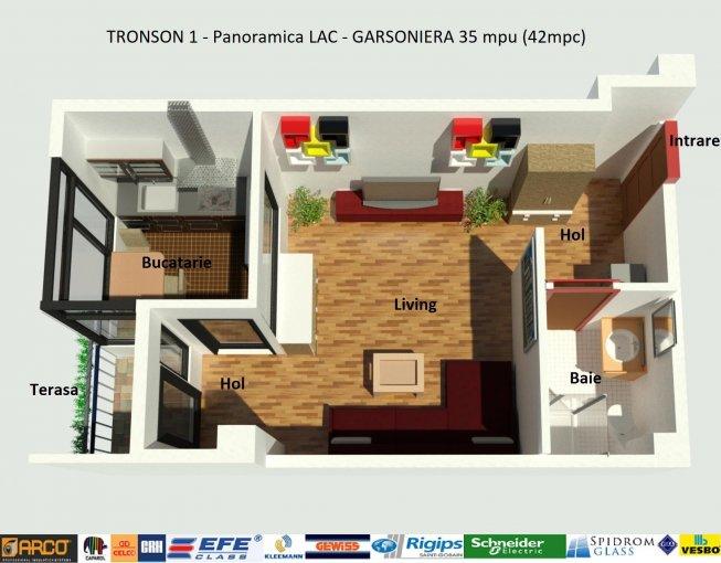 Garsoniera de vanzare direct de la dezvoltator imobiliar, in Constanta, zona Sat Vacanta, cu 46.000 euro. 1  balcon, 1 grup sanitar, suprafata utila 35 mp.