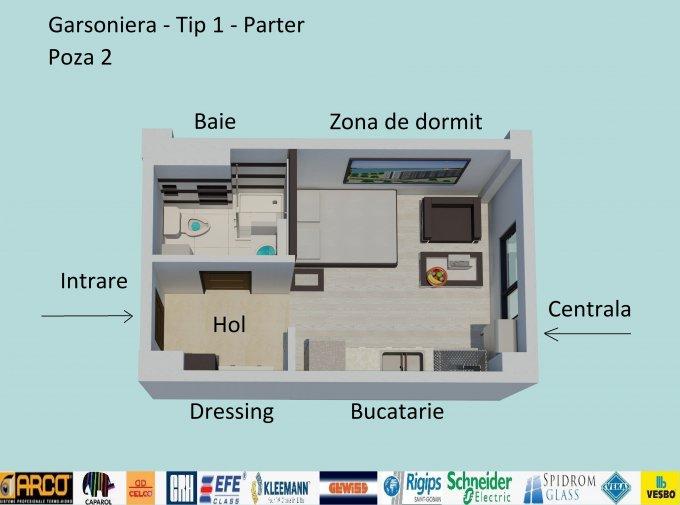 Garsoniera de vanzare direct de la dezvoltator imobiliar, in Constanta, zona Campus, cu 35.900 euro. 1  balcon, 1 grup sanitar, suprafata utila 30 mp.