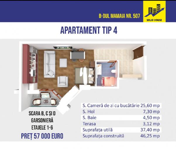 Garsoniera de vanzare in Constanta, cu 1 grup sanitar, suprafata utila 40 mp. Pret: 57.000 euro negociabil.