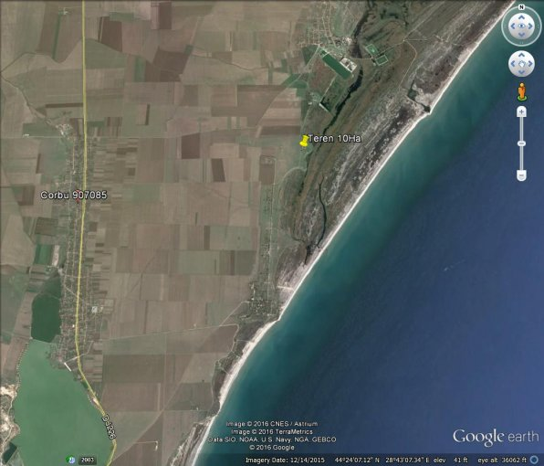 Teren agricol extravilan de vanzare in Corbu. Suprafata terenului 100000 metri patrati, deschidere 500 metri. Pret:  EUR. Destinatie: Rezidenta, Comercial, Agricultura.
