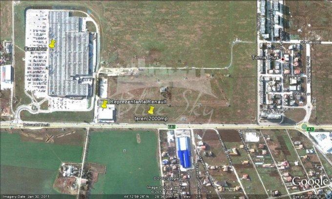 de vanzare teren intravilan cu suprafata de 2000 mp si deschidere de 30 metri. In orasul Constanta, zona Carrefour.
