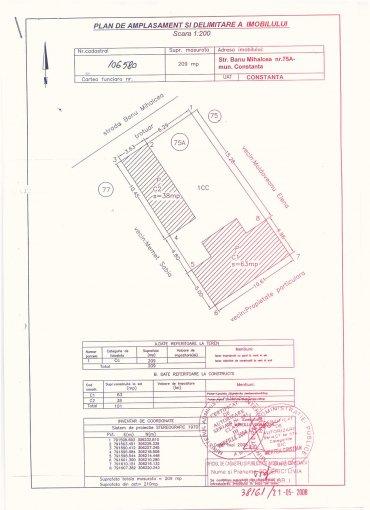 Teren intravilan de vanzare direct de la agentie imobiliara, in Constanta, cu 120.000 euro. Suprafata de teren 206 metri patrati cu deschidere de 9 metri.