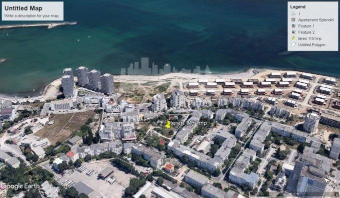 Teren intravilan de vanzare in Constanta, zona Faleza Nord. Suprafata terenului 1151 metri patrati, deschidere 45 metri. Pret: 402.850 euro negociabil.