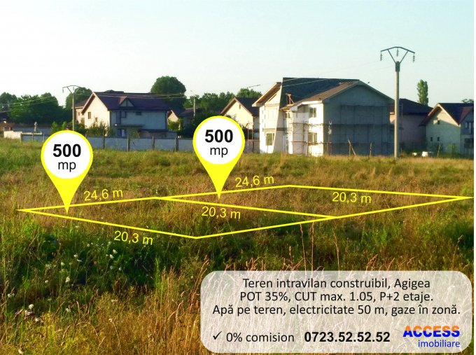 de vanzare teren intravilan cu suprafata de 500 mp si deschidere de 24.6 metri. In comuna Agigea. Utilitati: Apa.