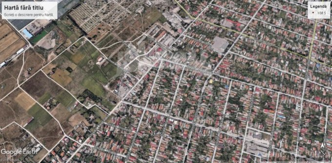 Teren intravilan de vanzare in Constanta, zona Km 5. Suprafata terenului 1699 metri patrati, deschidere 32 metri. Pret: 76.455 euro negociabil.