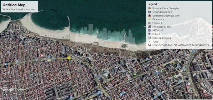 Teren intravilan de vanzare in Constanta, zona Centru. Suprafata terenului 739 metri patrati, deschidere 21 metri. Pret: 739.000 euro.