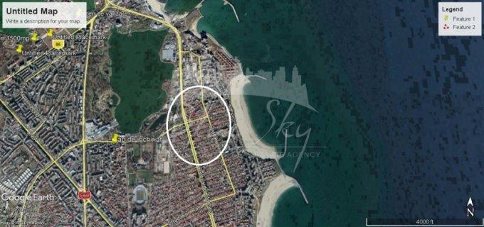 Teren intravilan de vanzare in Constanta, zona Delfinariu. Suprafata terenului 407 metri patrati, deschidere 145 metri. Pret: 236.060 euro negociabil.