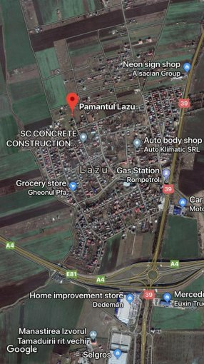 Teren intravilan de vanzare in Agigea. Suprafata terenului 1000 metri patrati, deschidere 20 metri. Pret: 28.000 euro negociabil. Destinatie: Rezidenta.