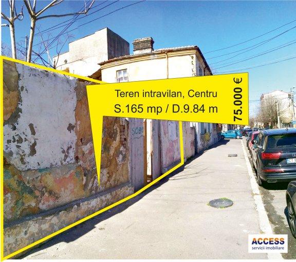 Teren intravilan de vanzare direct de la agentie imobiliara, in Constanta, zona Centru, cu 75.000 euro negociabil. Suprafata de teren 165 metri patrati cu deschidere de 9.84 metri.  Destinatie: Rezidenta, Birou.