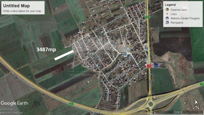 Teren intravilan de vanzare in Lazu. Suprafata terenului 3487 metri patrati, deschidere 126 metri. Pret: 45.331 euro.