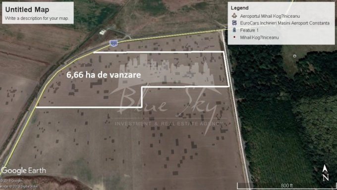 de vanzare teren intravilan cu suprafata de 33300 mp si deschidere de 90 metri. In comuna Mihail Kogalniceanu.