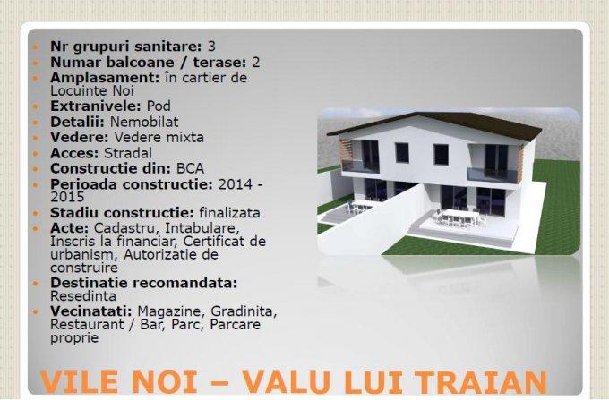 Vila de vanzare direct de la agentie imobiliara, in Valu lui Traian, cu 69.900 euro. 2  balcoane, 3 grupuri sanitare, suprafata utila 130 mp. Are 1 etaj si 4 camere.