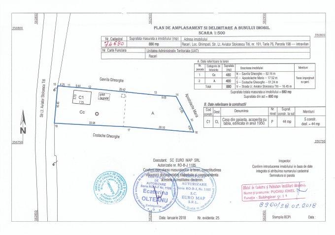 Ghimpati casa cu 2 camere, 1 grup sanitar, cu suprafata utila de 44 mp, suprafata teren 880 mp si deschidere de 8 metri. In localitatea Ghimpati.