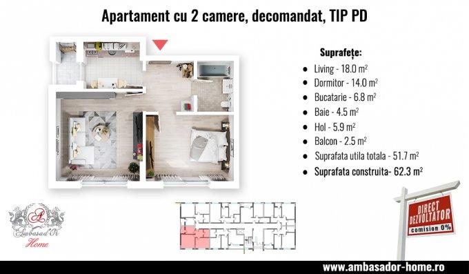 vanzare Apartament Otopeni cu 2 camere, cu 1 grup sanitar, suprafata utila 53 mp. Pret: 54.500 euro. Incalzire: Incalzire in pardoseala. Racire: Aer conditionat.