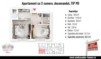vanzare apartament cu 2 camere, decomandat, in zona Centru, orasul Otopeni
