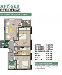 vanzare apartament decomandat, zona IMGB, orasul Popesti Leordeni, suprafata utila 71 mp
