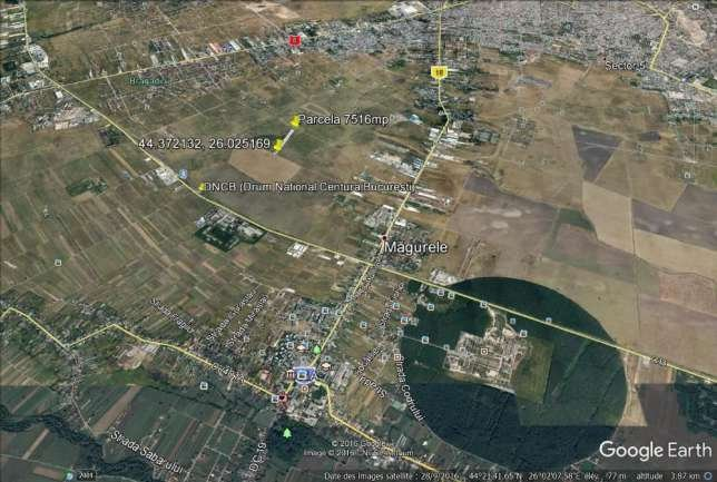 de vanzare teren intravilan cu suprafata de 7615 mp si deschidere de 19 metri. In orasul Magurele, zona Exterior Nord. Utilitati: Telefon, Gaze, Curent electric 220V, Apa.