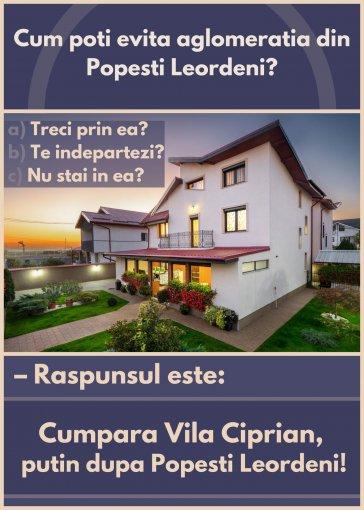 Est Popesti Leordeni vila cu 5 camere, 1 etaj, 1 grup sanitar, cu suprafata utila de 220 mp, suprafata teren 413 mp si deschidere de 20 metri. In orasul Popesti Leordeni, zona Est.
