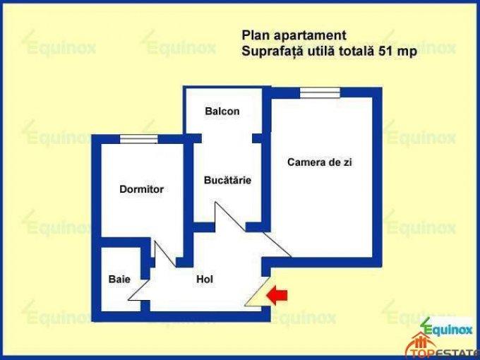 vanzare apartament decomandata, zona Cioceanu, orasul Ploiesti, suprafata utila 51 mp