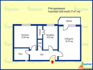 vanzare apartament decomandata, zona Republicii, orasul Ploiesti, suprafata utila 57.67 mp