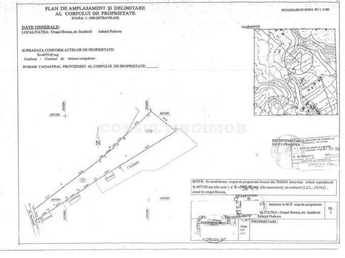 Teren intravilan de vanzare in Breaza. Suprafata terenului 4075 metri patrati, deschidere 13 metri. Pret: 75.400 euro negociabil. Destinatie: Rezidenta.