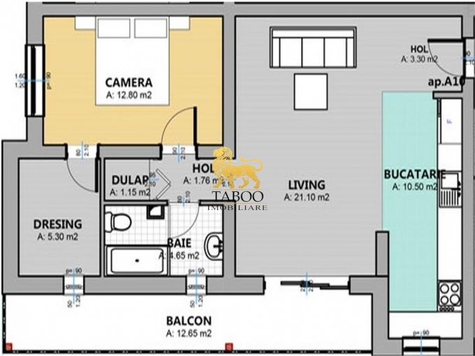 vanzare Apartament Sibiu cu 2 camere, cu 1 grup sanitar, suprafata utila 61 mp. Pret: 39.900 euro.