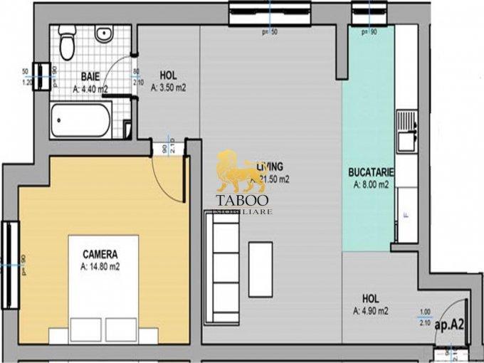 Apartament de vanzare in Sibiu cu 2 camere, cu 1 grup sanitar, suprafata utila 57 mp. Pret: 34.500 euro.