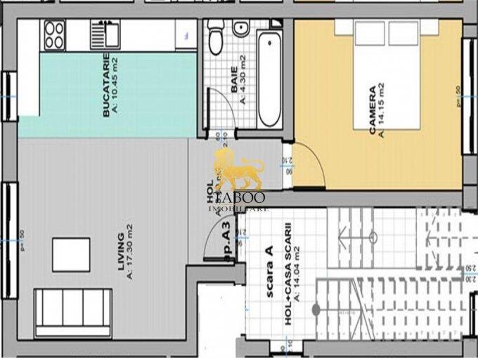 Apartament de vanzare direct de la agentie imobiliara, in Sibiu, in zona Selimbar, cu 34.500 euro. 1 grup sanitar, suprafata utila 50 mp.